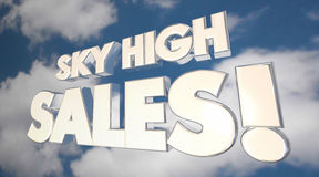 Sky High Sales Clouds Big Selling Products Deals Stock Image