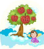 Sky hight tree house and angle. Illustration of sky high apple tree house and angel stock illustration