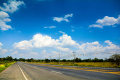 Sky Highway Road with Rural Clouds in Thailand. Stock Photos