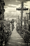 Sky and hill of crosses near Siauliai, Lithuania. Royalty Free Stock Photos
