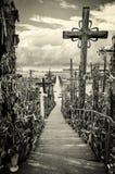 Sky and hill of crosses near Siauliai, Lithuania. Royalty Free Stock Photos