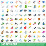 100 sky icons set, isometric 3d style Royalty Free Stock Photography