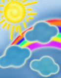 Sky illustration. Colored sky illustration with clouds, sun and rainbow on blue background Stock Image