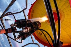 Inside a hot air baloon. In the sky, inside a hot air baloon stock images