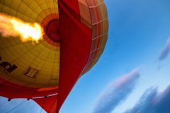 Inside a hot air baloon. In the sky, inside a hot air baloon stock image