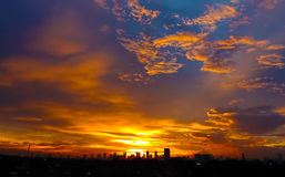 The sky jakarta. Twilight sky above Jakarta, i shoot foto from UICCI Sulaimaniyah royalty free stock images