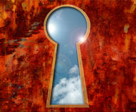 Sky in a keyhole Stock Images