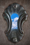 Sky in a keyhole Royalty Free Stock Image
