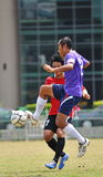 Sky kick from socker in thailand. Association football, more commonly known as football or soccer, is a sport played between two teams of eleven players with a royalty free stock image