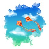 Sky Kite Watercolor Vector. Sky vector landscape with flying kite, white clouds inside watercolor spot Stock Image