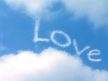 Sky of L.O.V.E. Love and freedom whitin the shy Stock Photography