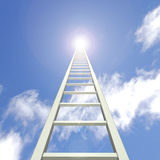 Sky Ladder. Image of a ladder reaching up towards a blue sky Royalty Free Stock Photo