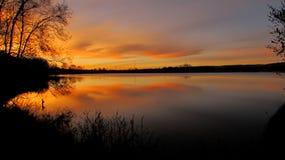 Sky lake. Autumn Colorado sunset Stock Photo