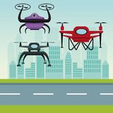 Sky landscape with buildings and street scene with modern robot drones with two airscrew flying and base Stock Photo