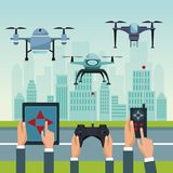 Sky landscape with buildings and street scene with people handle remotes control with set robot drones with two airscrew Royalty Free Stock Photos