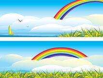 Sky landscape with clouds and rainbow Stock Image