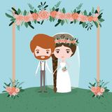 Sky landscape scene background in grass with couple of just married under decorative frame with floral ornaments in. Wooden poles vector illustration Stock Image