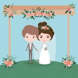Sky landscape scene background in grass with couple of just married under decorative frame in wooden poles with floral. Ornaments vector illustration Stock Photography