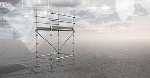 Sky landscape with technology interface and 3D Scaffolding Royalty Free Stock Photography