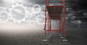 Sky landscape with technology interface and 3D Scaffolding Royalty Free Stock Photo