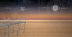 Sky landscape with technology interface and 3D Scaffolding Stock Image
