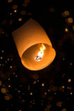 Sky lantern with bokeh Royalty Free Stock Photography