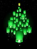 Sky lantern Christmas tree Royalty Free Stock Images
