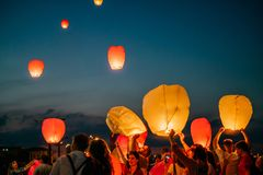 Sky lantern festival royalty free stock photography