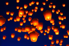 Sky Lantern Festival in Taiwan Royalty Free Stock Photography