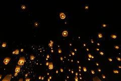 Sky lantern festivalyee peng lannain Chaing Mai, Thailand. Chiang Mai, Thailand - November 14, 2016:The Khom Loi is a cylinder of paper about one meter high Stock Images