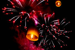 Sky lantern and firecrackers or fireworks Stock Image