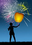 Sky lantern for the new Year Stock Photography