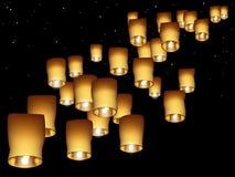Sky lanterns royalty free illustration