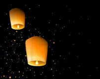 Sky lanterns. Two sky lantern in the night sky. Eps 10 Royalty Free Stock Image