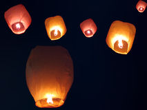 Sky Lanterns. Beautiful chinese sky lanterns floating in the sky on occassion of an Indian festival Stock Image