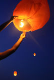 Sky Lanterns. ,Some people in the holiday are Playing Stock Photography