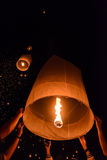 Sky lanterns festival or Yi Peng festival in Chiang Mai, Thailand Stock Images