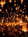 Sky lanterns festival or Yi Peng festival in Chiang Mai, Thailand Royalty Free Stock Photos