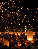 Sky lanterns festival or Yi Peng festival in Chiang Mai, Thailand Stock Image
