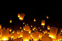 Sky lanterns firework festival stock photography