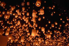 Sky lanterns firework festival,Chiangmai ,Thailand, Loy Krathong and Yi Peng Festival stock photo