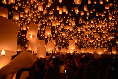 Sky lanterns firework festival,Chiangmai ,Thailand, Loy Krathong. And Yi Peng Festival Stock Photo
