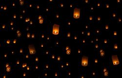 Sky lanterns firework festival, Loy Krathong and Yi Peng Festiva Stock Photo