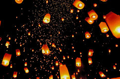 Sky Lanterns. At Lanterns Floating Ceremony in Chiang Mai, Thailand Royalty Free Stock Photo