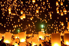 Sky Lanterns. At Lanterns Floating Ceremony in Chiang Mai, Thailand Stock Photos