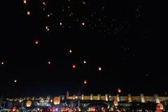 Sky lanterns flying over Avila Stock Photo