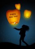 Sky lanterns for New Year. Illustration of sky lanterns for the New Year Royalty Free Stock Image