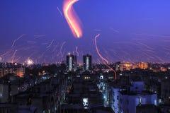 Sky lanterns trail Stock Photography