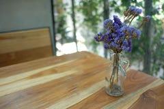 Sky Lavender in Jar pot. Sky Lavender Dry Flower in Jar pot on the Table stock photos
