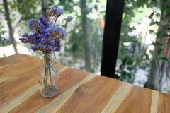 Sky Lavender in Jar pot. Sky Lavender Dry Flower in Jar pot on the Table royalty free stock images